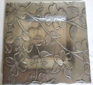 "Vintage Wendell August Forge Square 6"" x6"" Dogwood Print  Trinket Plate/Dish"