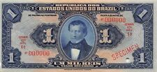 Brazil  1  Mil Reis  ND. 1919  P 6s Series 10A  Specimen Uncirculated Banknote