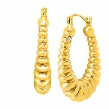14kt Yellow Gold Crystal Accent Silicone-filled Polished Oval Ribbed Hoop Earrings