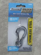 "NEW MARINE STAINLESS STEEL WIRE LEVER HARNESS CLIP CARABINER 1/4"", 200 LB"