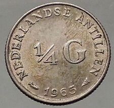 1965 Netherlands QUEEN Juliana SILVER 1/10 Gulden Coin of ANTILLES  i57805