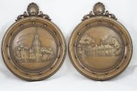 Vtg Homco Plaques Independence Hall & Mount Vernon 3D Relief Circle Brown USA