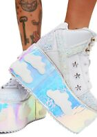 YRU Qozmo Sky Clouds Iridescent Holographic Punk Goth Platforms Sneakers Shoes