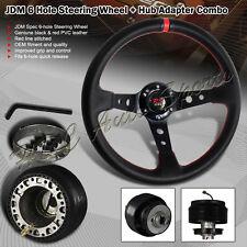 For 1990-2005 Mazda Miata 350MM Black / Red PVC Deep Dish Steering Wheel + Hub