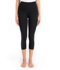 Lysse Women's High Waist Basic Cotton Capri Pants Control Top Black Size Small
