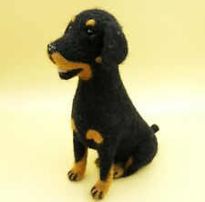 Collectible Puppy Rottweiler dog Eco Toy handmade wool Soft doll animal gift