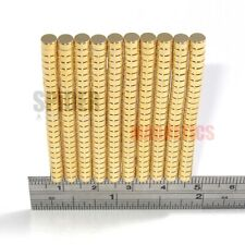 Tiny magnets 4x2 mm N52 neodymium disc GOLD plated craft jewellery 4mm dia x 2mm