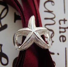 Anillo De Plata Estrella De Mar 3D declaración diseño de símbolo de infinito amor abierta 925 sello UK