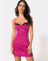 MOTEL ROCKS Lesty Bodycon Dress in Magenta  Size Medium M  (mr74)