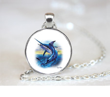 Sword Fish PENDANT NECKLACE Chain Glass Tibet Silver Jewellery