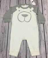 Baby Gap Boys 6-9 Months One-Piece Bear Romper. White & Gray Bear Romper. Nwt