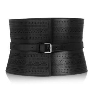 Alexander McQueen Black Leather Laser-Cut Bridle Corset Belt IT70 UK6