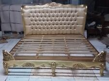 5' King Size French Louis Antique Style Upholstered Mahogany Gilt Bed  New
