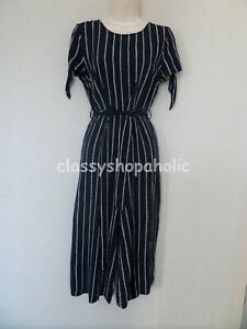 TU Navy Print Cropped Jumpsuit - Size 8 - Good Condition