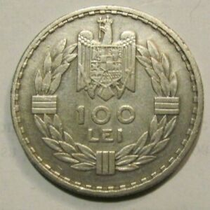 ROMANIA Kingdom 100 lei 1932 / Paris mint / King Carol II silver genuine / rare
