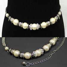 Women Bling Big Pearl Silver RHINESTONE METAL Chain BELT Waist Hip Wedding Ring
