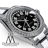 Women's 31mm Rolex Oyster Perpetual Datejust Custom Black String Diamonds Dial