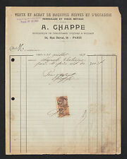"""PARIS (XI°) FERRAILLES &  VIEUX METAUX / MACHINES & OUTILS """"A. CHAPPE"""" en 1937"""