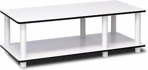 Furinno White 2 Tier Shelf TV Stand - Easy Assemble