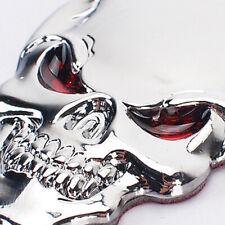 Universal 3D Metal Skull Bone Red Eye Car SUV Auto Decor Emblem Badge Sticker x1