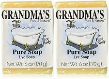 Grandma's Pure & Natural Lye Soap 6oz Bar Unscented ( 2 pack )