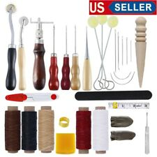 30 Leather Craft Punch Tools Kit Stitching Carving Working Sewing Saddle Groover