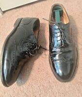 COLE HAAN, GREEN LABEL, MEN'S SZ 9 D, USA MADE, BLACK LEATHER, WINGTIPS, SHOES