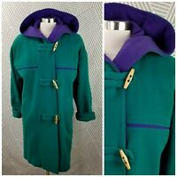 Vintage 90s size Small Medium Long Wool Blend Hooded Coat Jacket Teal Purple