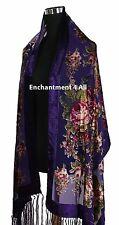 Elegant Silk Velvet Vintage Floral Scarf Shawl, Purple