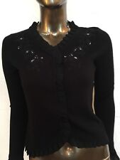 Womens Knit Top Valerie Stevens PS LS Hidden Snap Down Embroidered Collar
