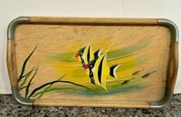 MCM Vintage SMALL Wooden Hand Painted Serving Tray-TROPICAL FISH 13X7""