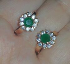 ❤️Earrings 9ct Gold Over Emerald Diamond❤️Hoops 20 mm real UK FREE Post Silver❤️
