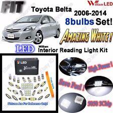 8 Bulbs White LED Interior Light Kit For Toyota Belta 2006-2014 +Parking Light