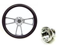 "EZ-GO Polaris Ranger 14"" Billet & Black Carbon Fiber Steering Wheel + Adapter"