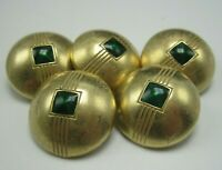 """Lot of 5 Vintage Brass Buttons Domed with Green Enamel Center 7/8"""" Diameter T5"""