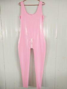 100% latex gummi fullbody rubber pink women cosplay 0.4mm s-xxl