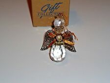 Avon 1995 Angelic Reflections Ornament Faux Cut Crystal Gold Wings NEW IN BOX