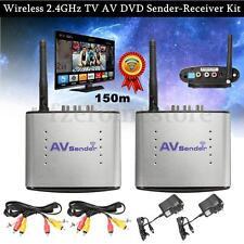 2.4GHz AV Wireless Transmitter Receiver Sender Audio Video TV 492ft
