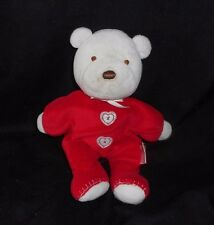 CARTER'S 2008 WHITE TEDDY BEAR RED HEART PAJAMAS RATTLE STUFFED ANIMAL PLUSH TOY