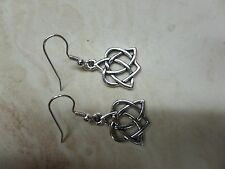 Silver Plated Celtic Open Heart Earrings, Lotus, Flower of Life USA069