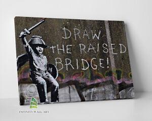 BANKSY Draw The Raised Bridge Graffiti Canvas Art Wall Art Print Picture -C827