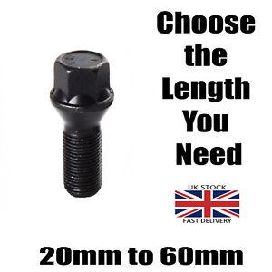 Black M14 x 1.25 Car Alloy Wheel Bolt Short to Extra Long Extended Thread Length
