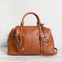 NWT Michael Kors Ginger Leather Large Duffle Satchel Shoulder Bag in Luggage
