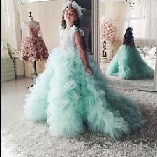 2017 Mint Girls Pageant Gowns Ball Gown Flower Girls Dresses Puffy Tulle Ruffles