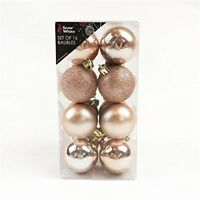 Christmas Tree Baubles Pack Of 16 Rose Gold - White Snow Shatterpro Decoration