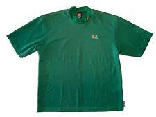 New listing Nike Dri-Fit NCAA Miami Hurricanes Men's Green Mock Neck Golf Shirt; Size L