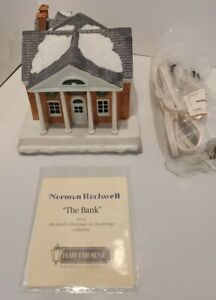 """Christmas Village Hawthorn Porchlight Collection """"The Bank"""" Norman Rockwell"""