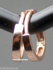 Solid 14K PINK ROSE Gold Endless Huggies Hoop Earrings 10mm/2mm ITALIAN GORGEOUS