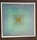 """Victor Vasarely """"Zoeld-Fir"""" Mounted Offset Color Lithograph 1971"""