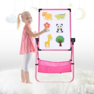Kids Folding Double Sided Magnetic Drawing Board Easel w/ Colour Chalk + Eraser